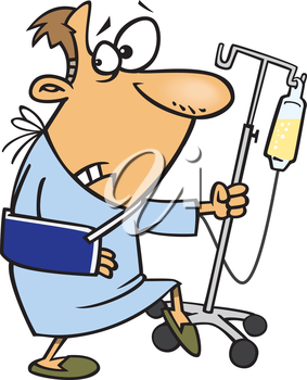 Royalty Free Clipart Image of a Man in the Hospital Looking Sneaky