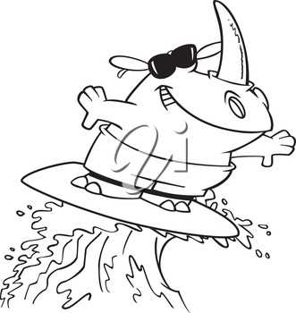 Royalty Free Clipart Image of a Surfing Rhinoceros