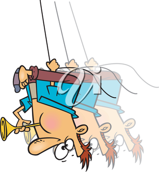 Royalty Free Clipart Image of a Man Blowing a Horn Hanging Upside Down