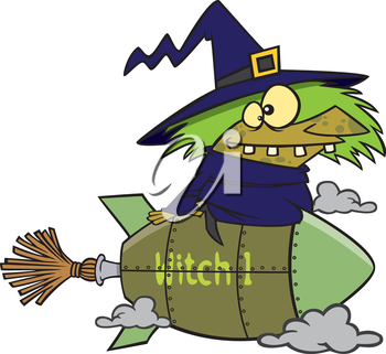Royalty Free Clipart Image of a Witch on a Rocket