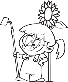 Royalty Free Clipart Image of a Girl Growing a Sunflower