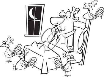 Royalty Free Clipart Image of a Man Who is Sleepy