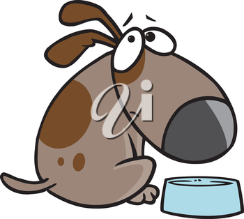 Royalty Free Clipart Image of a Hungry Dog