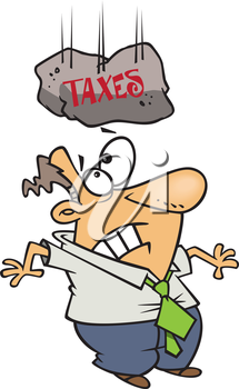 Royalty Free Clipart Image of a Man With a Taxes Rock Falling on His Head