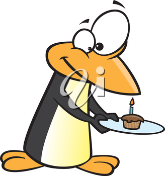 Royalty Free Clipart Image of a Penguin With a Cupcake on a Plate