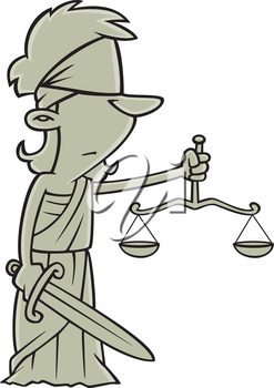 Royalty Free Clipart Image of a Statue of the Scales of Justice