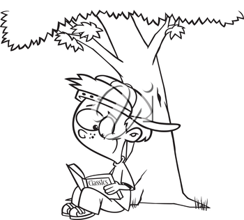 Royalty Free Clipart Image of a Child Reading Under a Tree