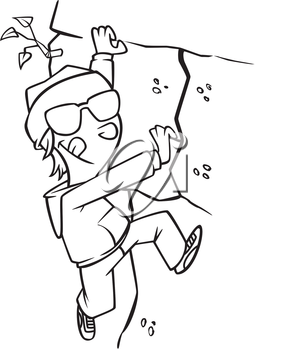 Royalty Free Clipart Image of a Boy Climbing a Rock