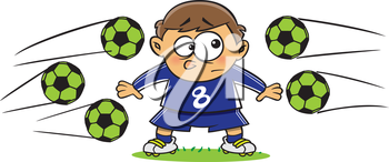 Royalty Free Clipart Image of a Boy With Soccer Balls Flying at Hime