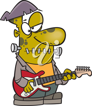Royalty Free Clipart Image of a Guitar Playing Frankenstein