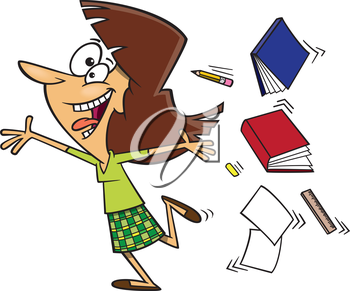 Royalty Free Clipart Image of a Woman Throwing Books and Pencils