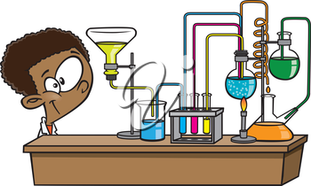 Royalty Free Clipart Image of a Boy in a Science Lab