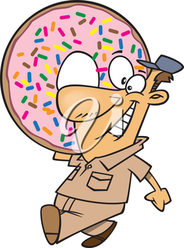 Royalty Free Clipart Image of a Man Carrying a Huge Doughnut