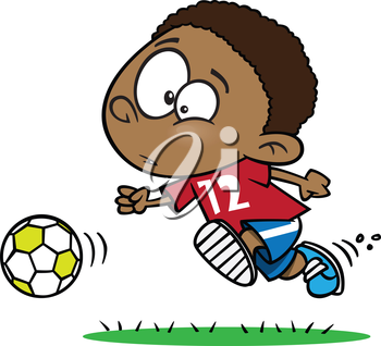 Royalty Free Clipart Image of a Boy Chasing a Ball