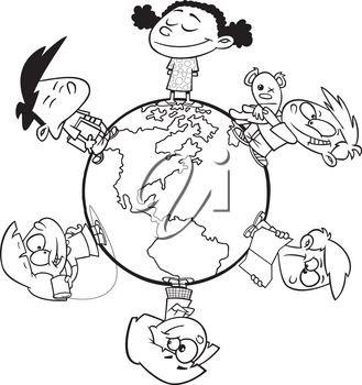 Royalty Free Clipart Image of Children Around the World