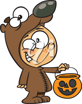 Royalty Free Clipart Image of a Child Dressed as a Bear for Halloween