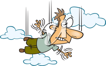 Royalty Free Clipart Image of a Man Taking a Leap of Faith