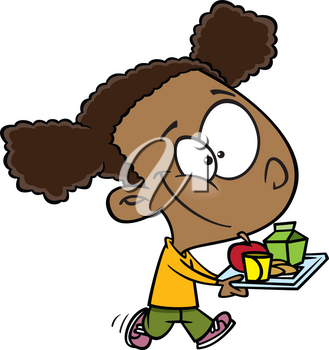 Royalty Free Clipart Image of a Girl Carrying a Tray of Food