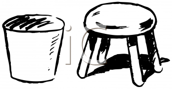 Royalty Free Clipart Image of a Milk Pail and Stool