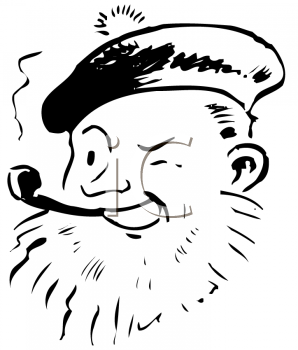 Royalty Free Clipart Image of a Man Wearing a Scottish Tam and Smoking a Pipe