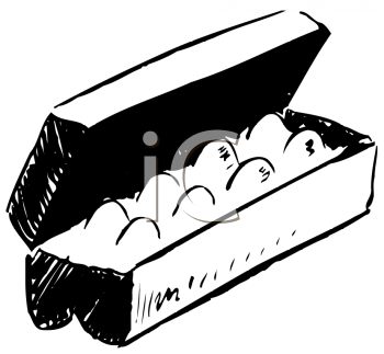 Royalty Free Clipart Image of a Carton of Eggs