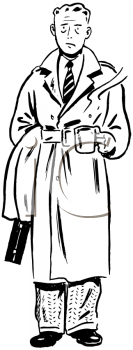 Royalty Free Clipart Image of a Man With a Cup of Coffee
