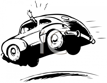 Royalty Free Clipart Image of a Flying Car