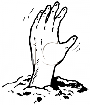 Royalty Free Clipart Image of a Hand Reaching Out of the Grave