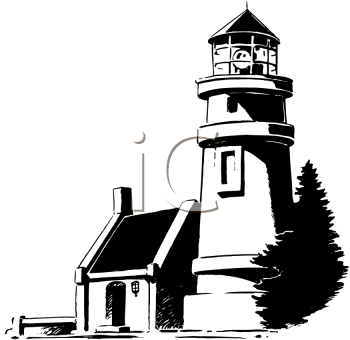 Royalty Free Clipart Image of a Lighthouse
