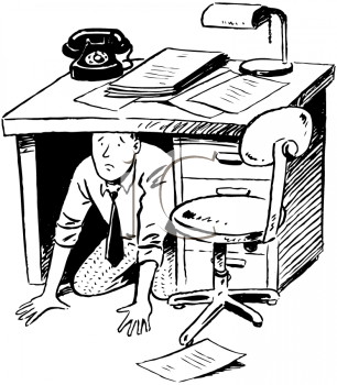 Royalty Free Clipart Image of a Man Under His Desk
