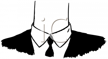 Royalty Free Clipart Image of a Black Suit and Tie