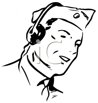 Royalty Free Clipart Image of a Radio Man