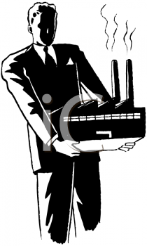 Royalty Free Clipart Image of a Man Holding a Factory