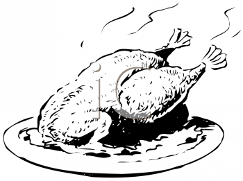Royalty Free Clipart Image of Roast Turkey on a Plate