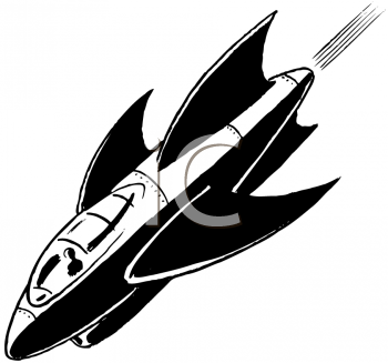 Royalty Free Clipart Image of a Rocket Ship