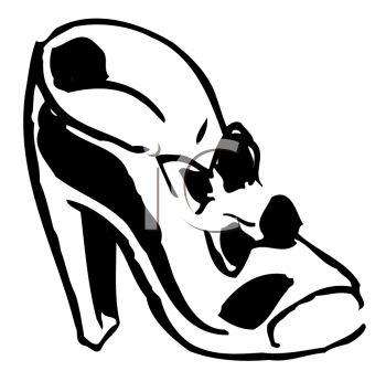 Royalty Free Clipart Image of a Woman's Shoe With Bows