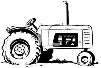 Royalty Free Clipart Image of a Farm Tractor