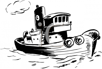Royalty Free Clipart Image of a Tugboat