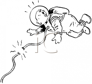 Royalty Free Clipart Image of an Astronaut Coming Untangled