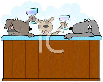 Royalty Free Clipart Image of Three Dogs in a Hot Tub Making a Toast With Wine Glasses