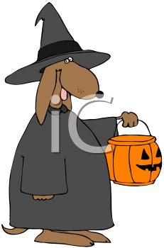 Royalty Free Clipart Image of a Witch Dog Trick or Treating