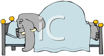 Royalty Free Clipart Image of an Elephant Sleeping