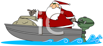 Royalty Free Clipart Image of Santa In A Motorboat