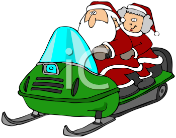 Royalty Free Clipart Image of Santa and Mrs. Claus Out Snowmobiling