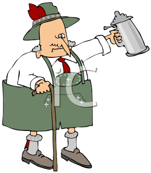 Royalty Free Clipart Image of An Oktoberfest Old Man Lifting A Beer Stein