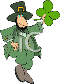 Royalty Free Clipart Image of a Leprechaun Holding a Shamrock