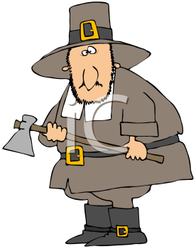 Royalty Free Clipart Image of A Pilgram With An Axe