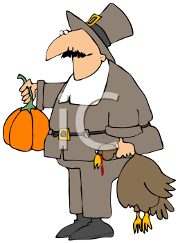 Royalty Free Clipart Image of A Goofy-Looking Pilgrim Carrying A Turkey By The Neck And A Pumpkin