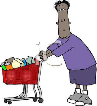 Royalty Free Clipart Image of a Man Grocery Shopping
