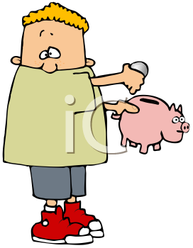 Royalty Free Clipart Image of a Boy Holding a Piggy Bank
